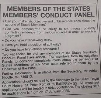 Advert for members of the States Members Code of Conduct Panel