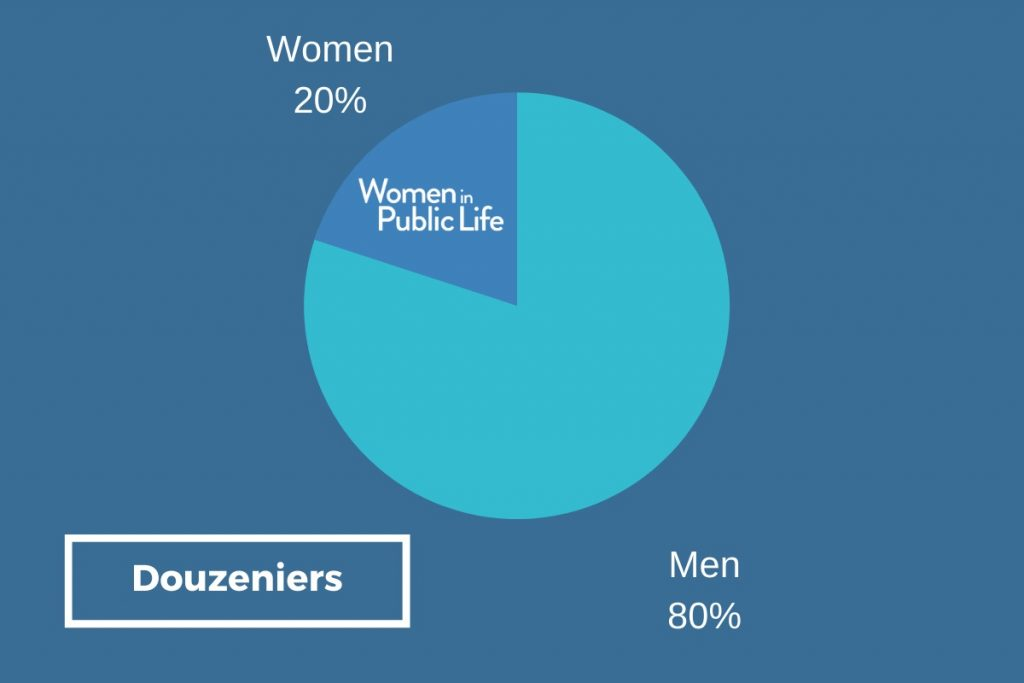 Pie chart showing that 20% of Douzeniers are women