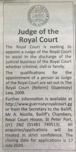 Classified advert for Judge of the Royal Court