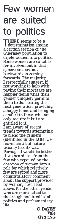 Letter to Guernsey Press from C Davey