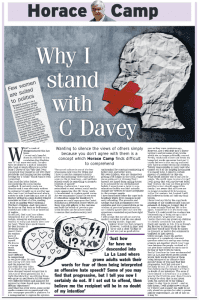 """Horace Camp's opinion column """"Why I stand with C Davey""""."""